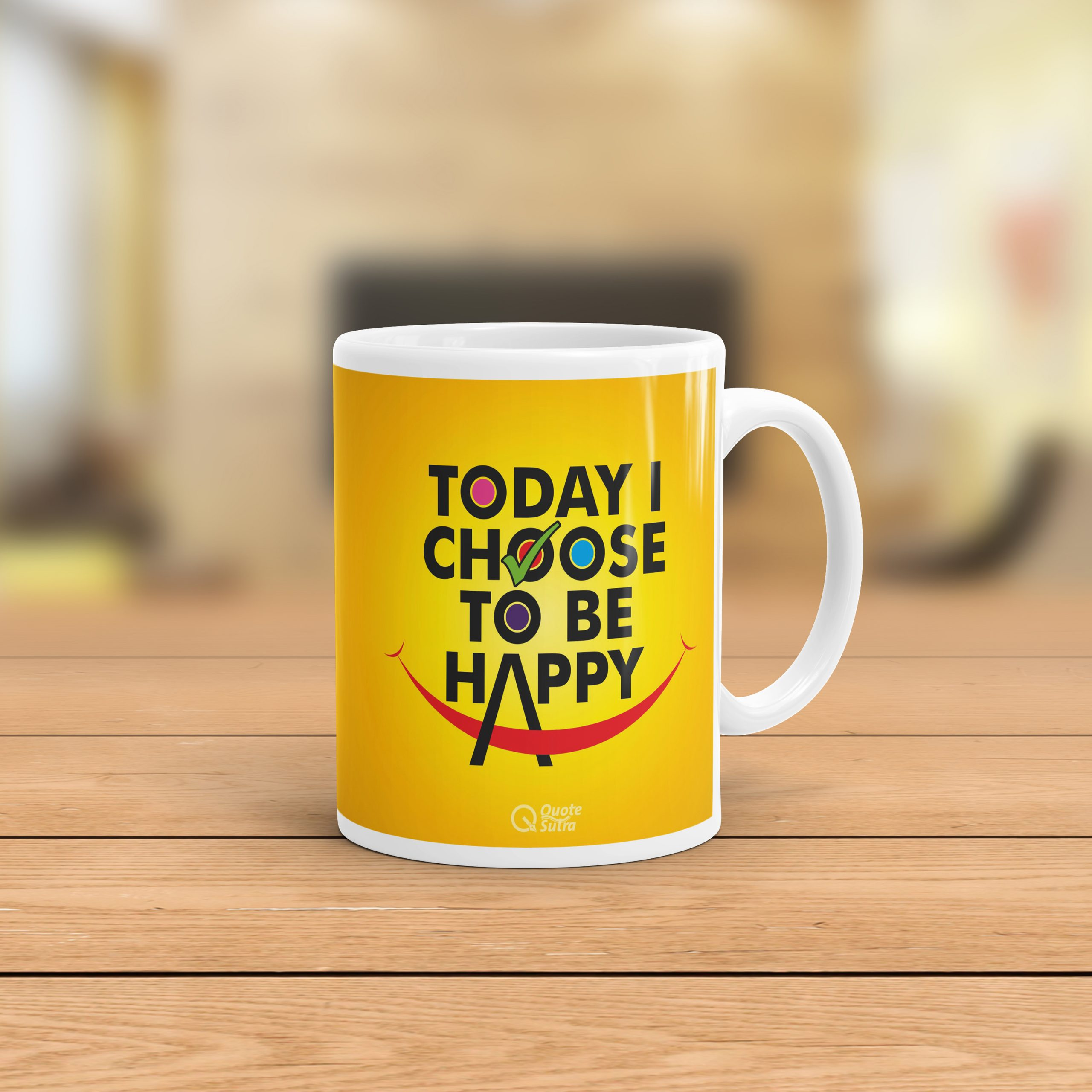 Today I Choose To Be Happy Inspiring Affirmation Mug by Quotesutra