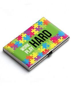 Work hard play hard card holder